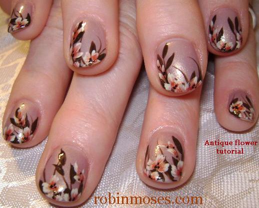 Funky design vintage design floral nails floral design funky wedding nail design for short nails vintage antique flower nail art tutorial prinsesfo Image collections