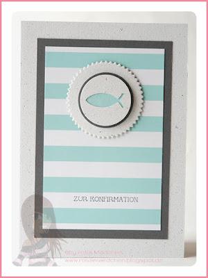 Stampin' Up! Rosa Mädchen Konfirmations-/Kommunionkarte mit Eins für Alles, Kreisstanzen und Designerpapier