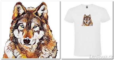 Vlk - pánské tričko s potiskem v geometrickém stylu
