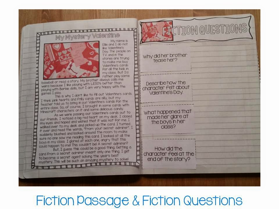 Valentines Day paired passages for interactive notebook- fiction and nonfiction passage with comprehension pages