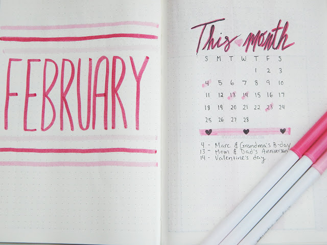 bullet journal monthly set up February 2018