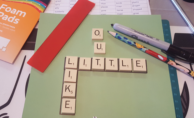 marking out the scrabble tiles for a back to school kids craft challenge