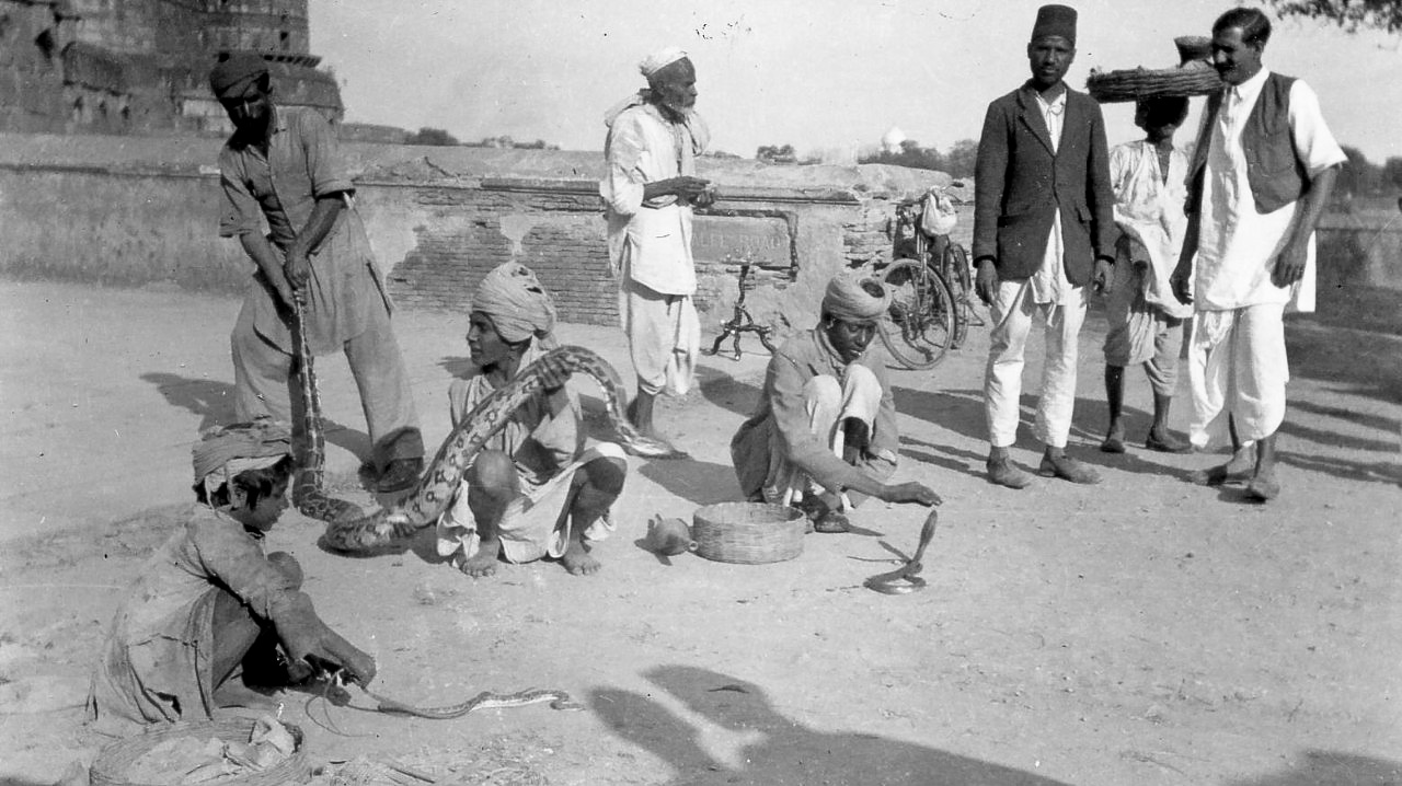 Snake charmers in Agra, Near to the Taj Mahal - India 1939