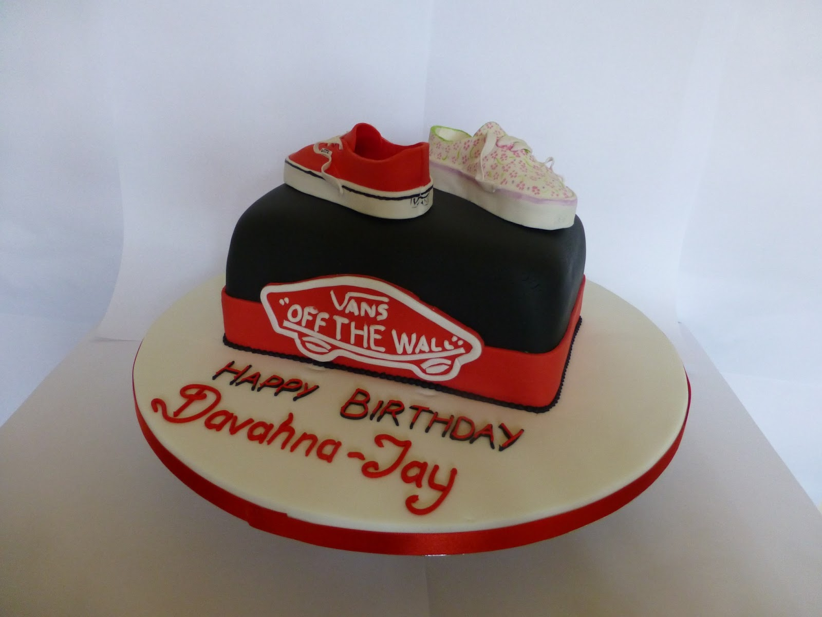 Delores Bakes Red And Floral Vans Birthday Cake