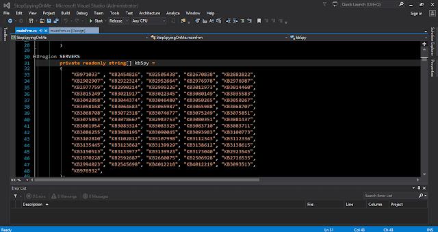 visual studio windows update stop spying on me