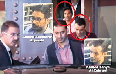 "al-Janobi and al-Zahrani leaving the consulate  ""Harriyat Daily"""