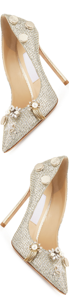 Jimmy Choo Jasmine Ornament-Embellished 100mm Pump, Champagne