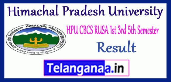 HPU CBCS RUSA Himachal Pradesh University 1st 3rd 5th UG Semester Result