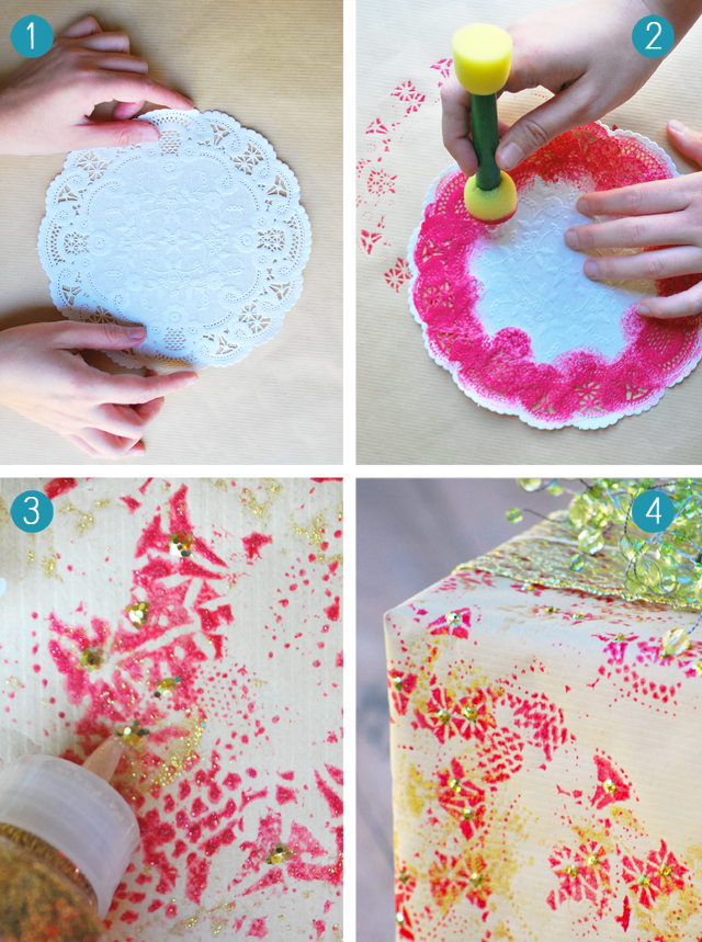 Diy Holiday Wrapping Paper From Paper Doilies