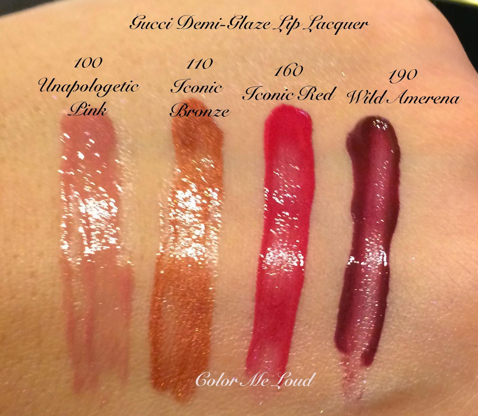 Gucci Demi-Glaze Lip Lacquer Swatches
