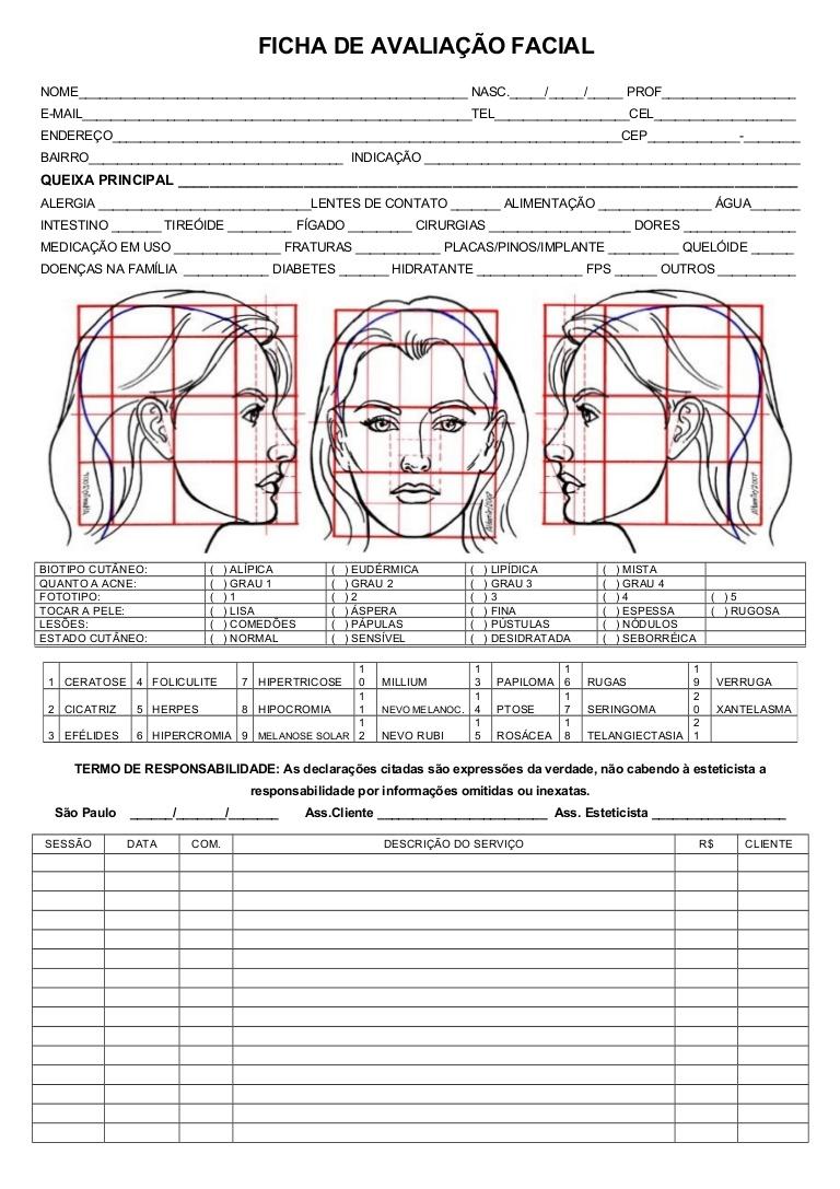 Ficha De Anamnese Facial Trabalhos De Casa April 2020 Ajuda
