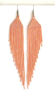 украшения к персиковому платью купить длинные серьги из бисера куплю