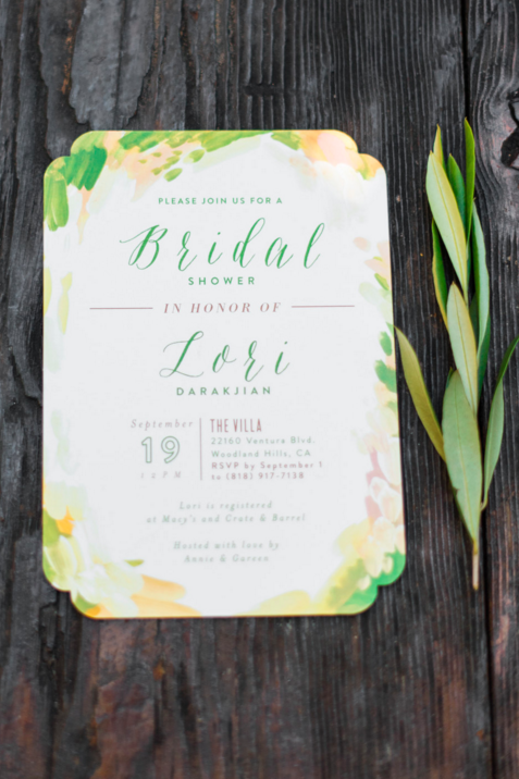 rustic italian olive oil bridal shower wedding outdoor invitation