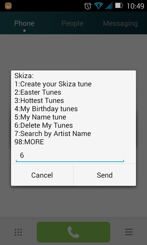 How to Remove Skiza tunes Step 2