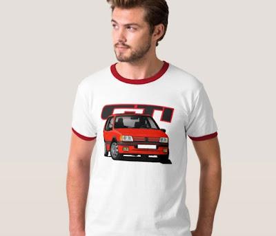 Kurvaava Peugeot 205 GTi t-paidassa