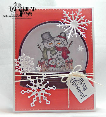Our Daily Bread Designs Stamp Set: Snowman Family, Custom Dies: Snow Globe, Pierced Rectangles, Snow Crystals, Tags Trio, Paper Collection: Christmas 2017