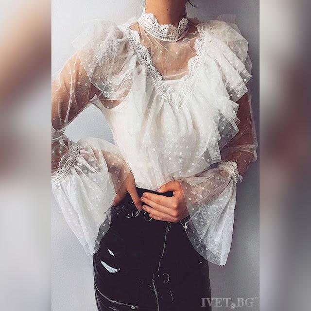 Γυναικεία άσπρη μπλούζα BELICIA - Άνετη γραμμή