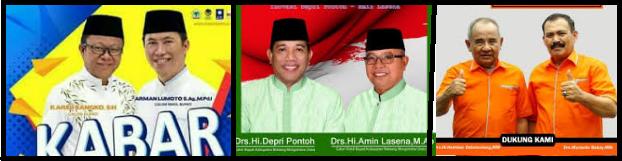 tiga pasang calon Bupati dan wakil Bupati Kabupaten Bolaang Mongondow Utara 2018