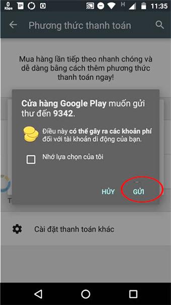 Hướng dẫn thanh toán trên Ch Play bằng thẻ sim VinaPhone f