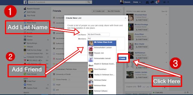 Create Facebook Friends Lists create list