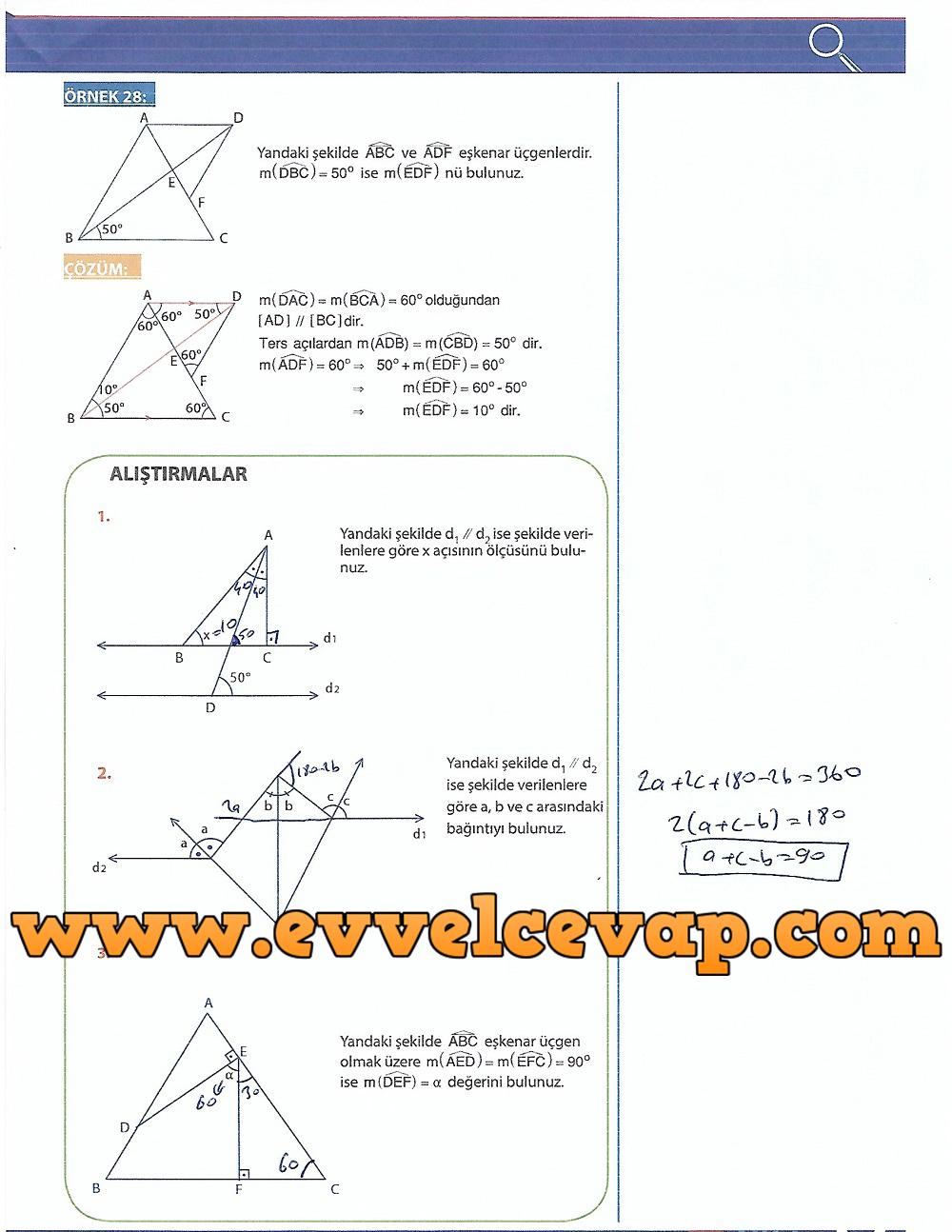9.Sınıf Matematik MEB Yayınları Ders Kitabı 211.Sayfa Cevapları Üçgenler