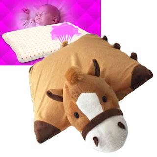 ที่นอนเด็กหมอนข้างตุ๊กตายางพาราแท้ NATURAL ANTI-MITE CHILD PILLOW LATEX สีน้ำตาล - พร้อมส่ง