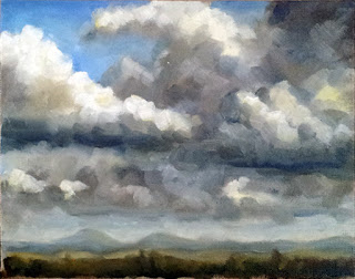 Oil painting of cumulonimbus clouds over a low horizon.