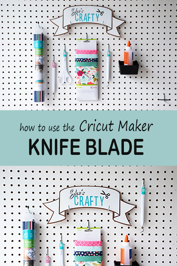 She's Crafty DIY chipboard sign with how to use the Cricut Maker knife blade text overlay