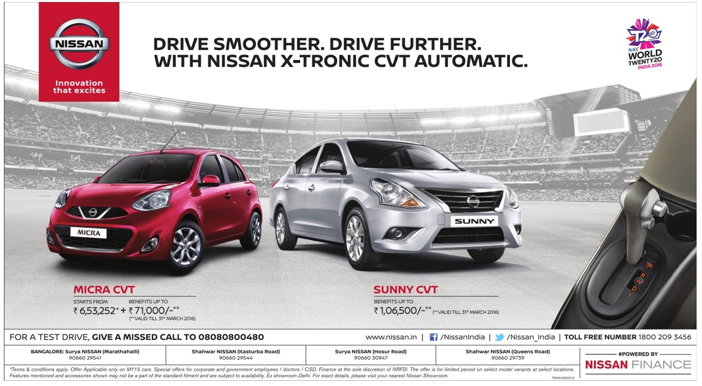 Great discount Benefits on Nissan X-Tronic CVT Automatic | March 2016 discount offers on Nissan