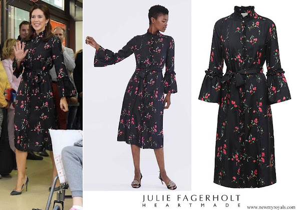 Crown Princess Mary wore Julie Fagerholt Heartmade Harin black flower print silk dress