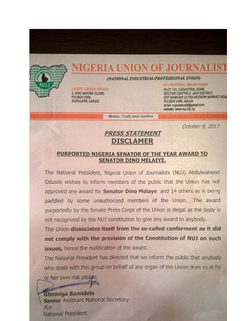 NUJ forces Senate Press Corps to cancel Dino Melaye's award, says it's unconstitutional