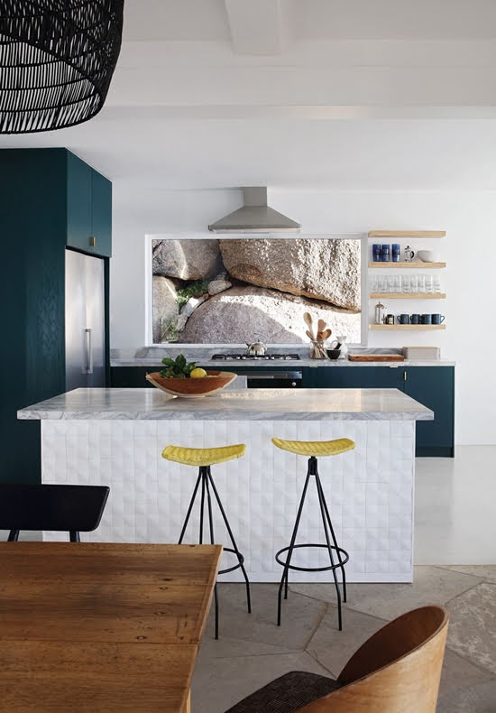 Safari Fusion blog | Summer sea views | Kitchen complete with boulders Icaria / Bantry Bay, South Africa