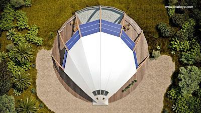 Imagen del renderizado de un proyecto de casa domo