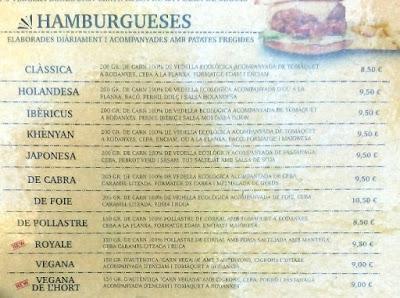 Carta de hamburguesas de la cafetería y hambuguesería Khenyan