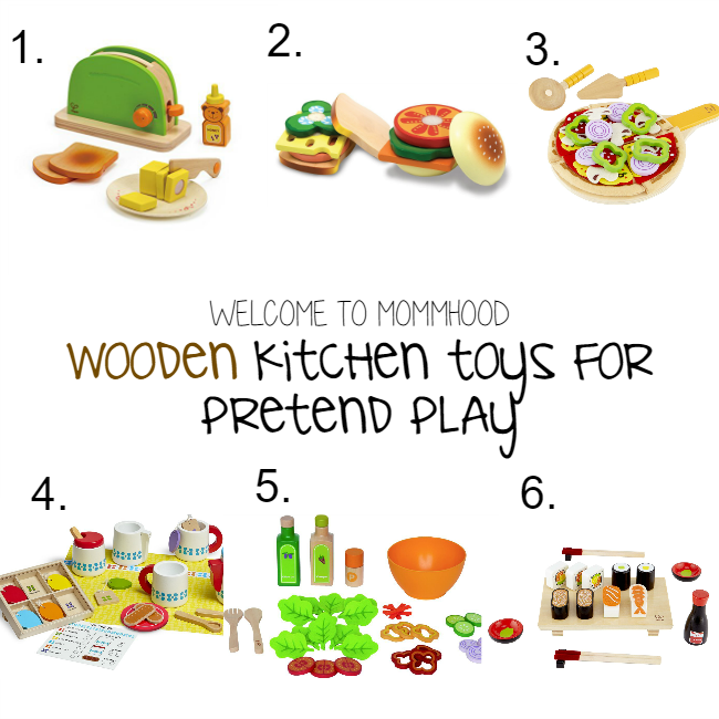 Gift guide for toddlers and preschoolers - Wooden kitchen toys for pretend play by Welcome to Mommyhood #pretendplay #woodentoys #giftguide #childrenstoys #giftguidekids