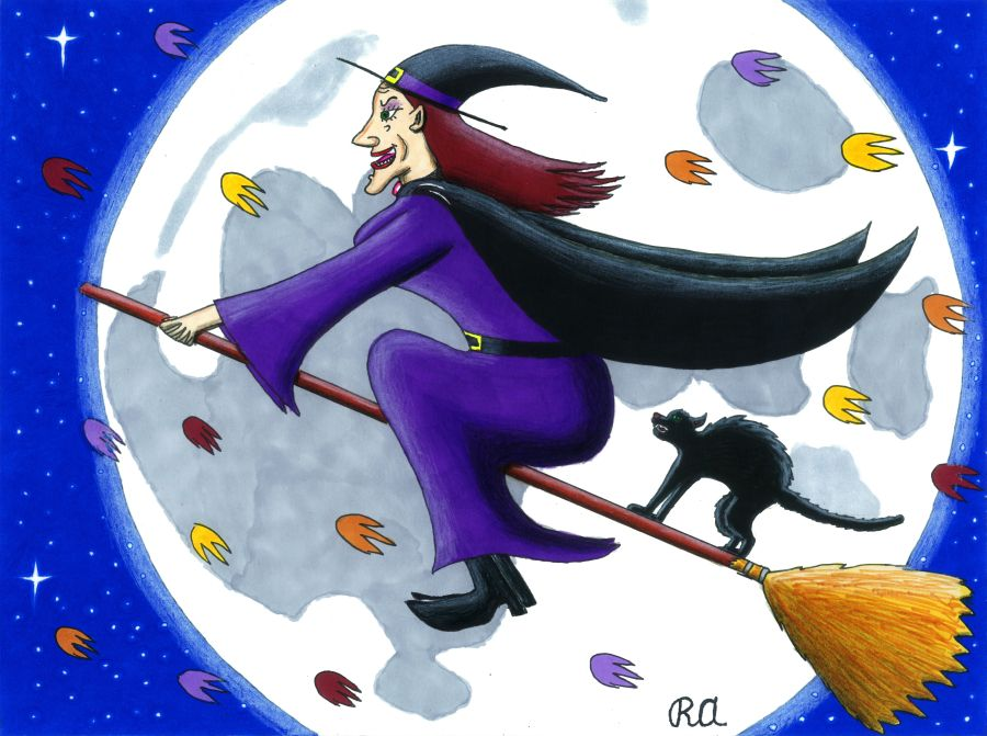 Ringtail: Witch Flying on Broom in the Autumn