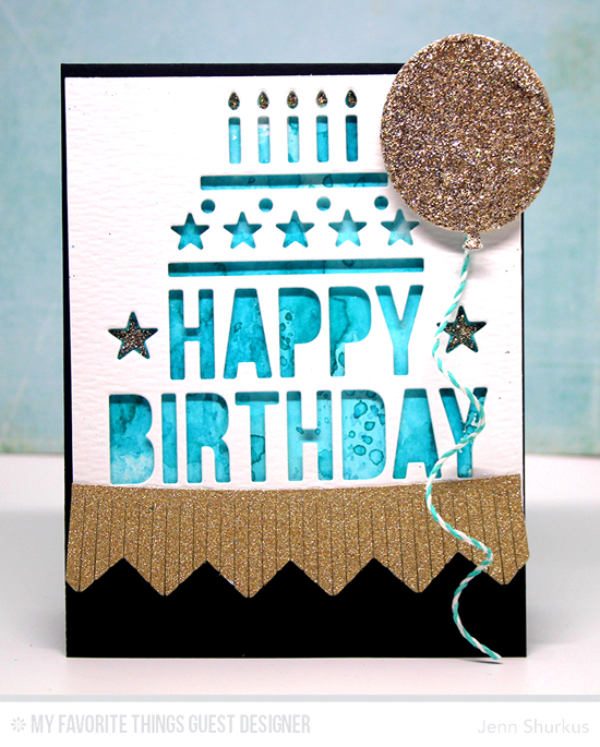 Handmade card from Jenn Shurkus featuring Happy Birthday Centerpieces, Big Birthday Balloons, and Chevron Fringe Die-namics #mftstamps