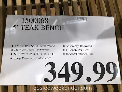 Deal for the 5-ft Teak Wood Bench at Costco
