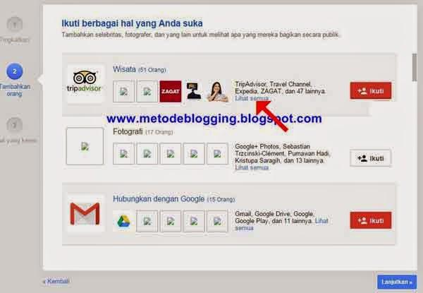 Ikuti yang Anda suka di google plus