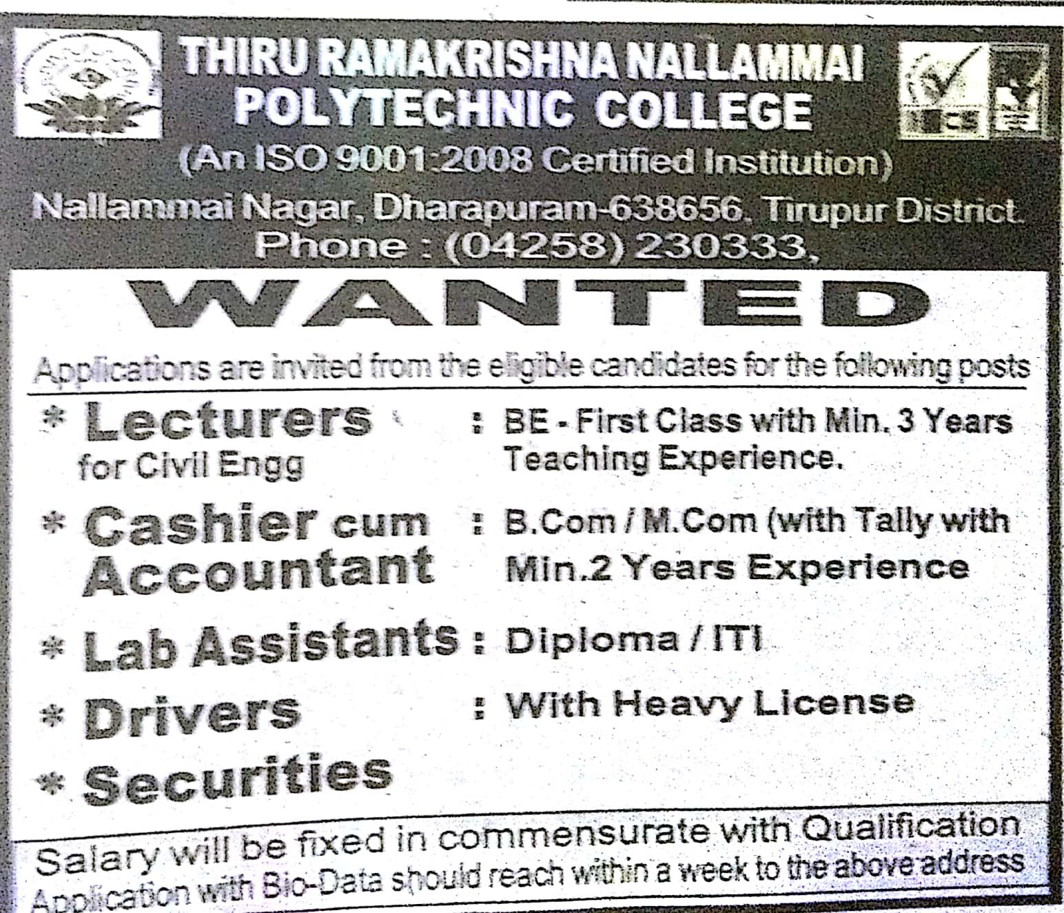 Job Wanted List Dinathanthi Coimbatore 09 12 2018 - Jobs At