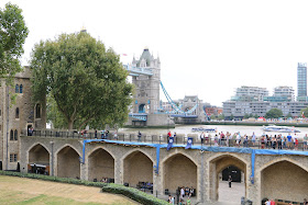 A wall walk at the Tower of London with Tower Bridge in the background