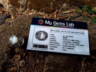 Natural Moonstone Cat's Eye Superb Quality Memo My Gems Lab MST001