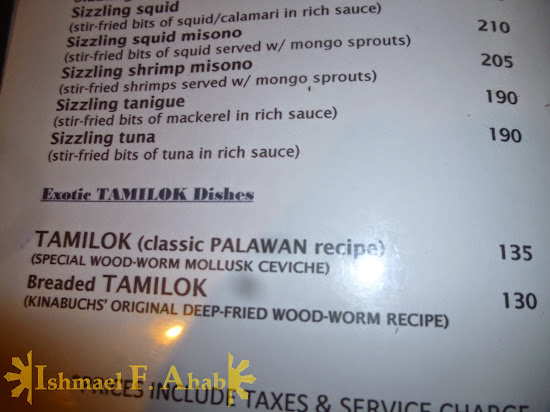 Exotic tamilok dishes in Kinbuch's Bar and Grill, Puerto Princesa City