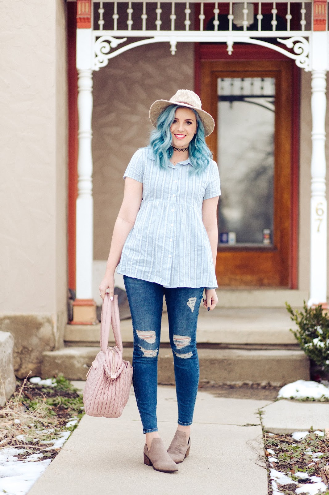 Ripped Jeans, Pink Diaper Bag, The Red Closet Shop