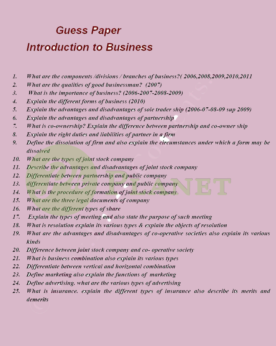 Introduction to Business B.Com Part 1 Guess Papers