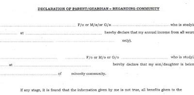 PRE MATRIC SCHOLARSHIP PARENT / GUARDIAN DECLARATION FORM FOR INCOME on