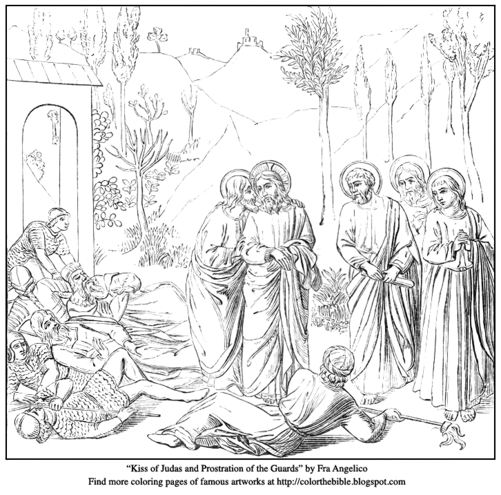 Kiss Of Judas And Prostration The Guards Description Coloring Page