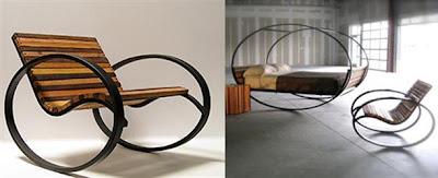 diseño de sillón y mecedora