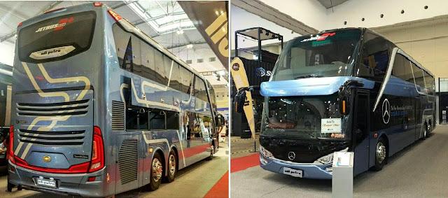 """Bus Umum Aceh termewah rata-rata memiliki kualifikasi """"Scania Jetbus"""" impor dari Eropa dengan karoseri Adiputro dan karoseri Gunung Mas"""