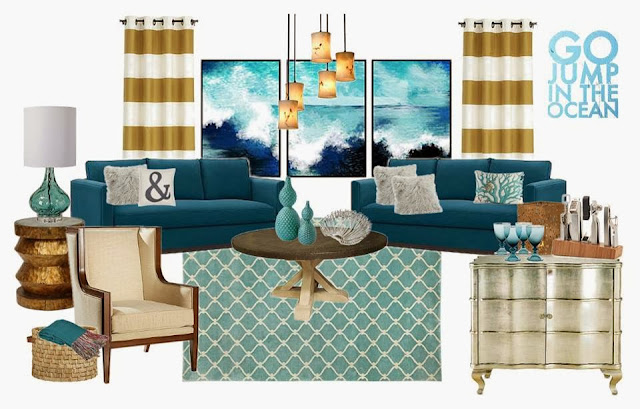 Teal and gold living room design